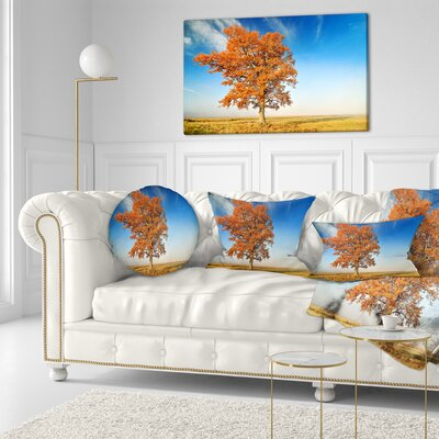 Lonely Fall Tree Landscape Photo Throw Pillow Size: 16 x 16