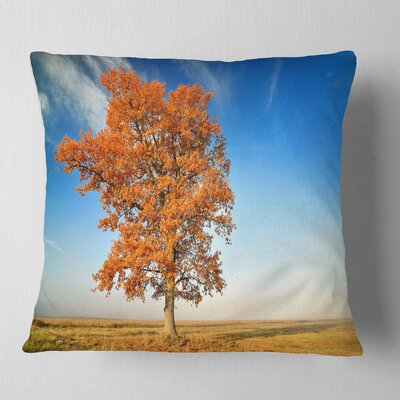 Lonely Fall Tree Landscape Photo Pillow Size: 18 x 18, Product Type: Throw Pillow