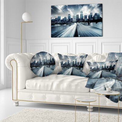 City with Tint Cityscape Throw Pillow Size: 20 x 20