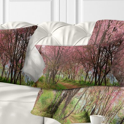 Sakura Flowers in Thailand Landscape Printed Pillow Size: 12 x 20, Product Type: Lumbar Pillow