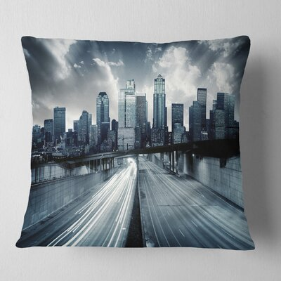 City with Tint Cityscape Pillow Size: 18 x 18, Product Type: Throw Pillow