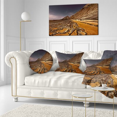 Rocky Coast Portugal Cityscape Throw Pillow Size: 16 x 16