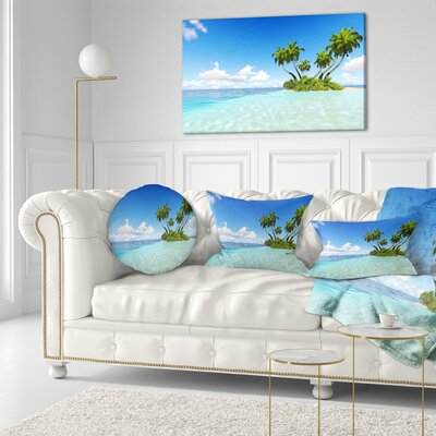 Corals Island under Sky Seascape Throw Pillow Size: 20