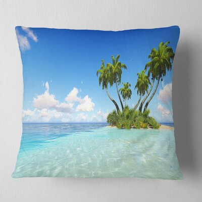 Corals Island under Sky Seascape Pillow Size: 16 x 16, Product Type: Throw Pillow