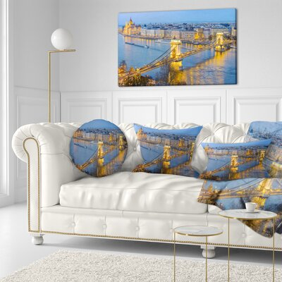 Chain Building and Parliament in Budapest Cityscape Throw Pillow Size: 20 x 20
