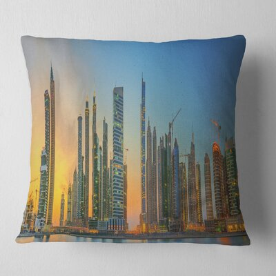 Business Bay and Downtown Dubai Cityscape Pillow Size: 16 x 16, Product Type: Throw Pillow
