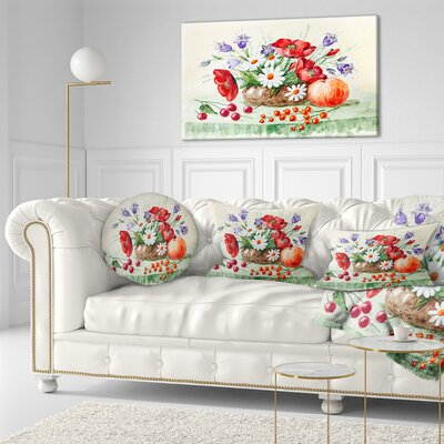 Bunch of Flowers and Fruits Floral Throw Pillow Size: 20 x 20