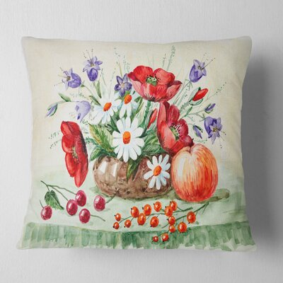 Bunch of Flowers and Fruits Floral Pillow Size: 18 x 18, Product Type: Throw Pillow