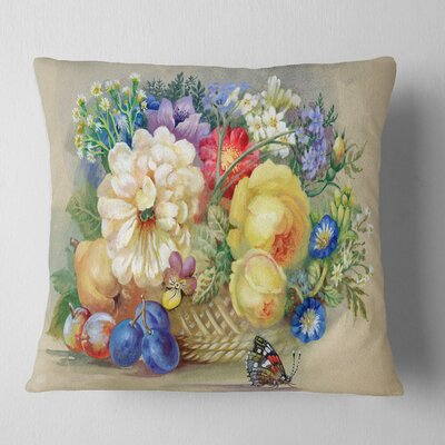 Bunch of Flowers and Fruits Floral Pillow Size: 16 x 16, Product Type: Throw Pillow