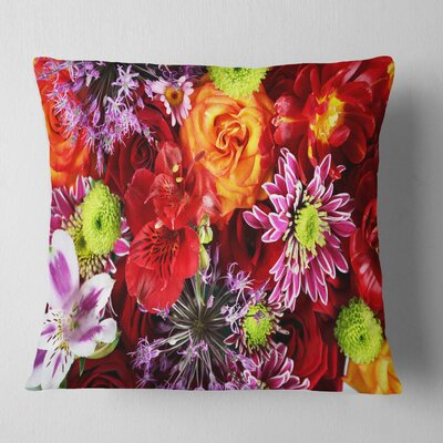 Flowers Background Floral Pillow Size: 16 x 16, Product Type: Throw Pillow