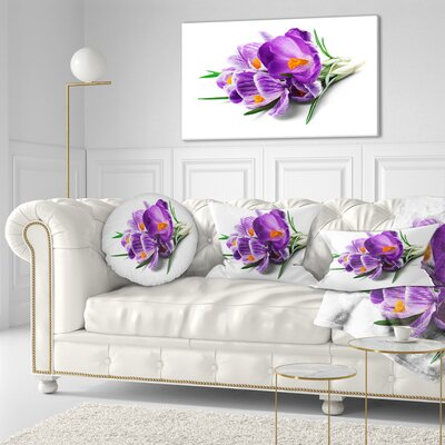 Bunch of Blooming Crocus Flowers Floral Throw Pillow Size: 16 x 16
