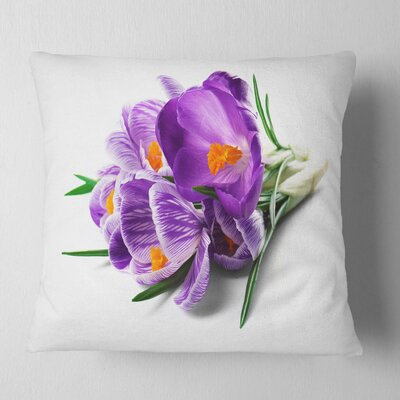Bunch of Blooming Crocus Flowers Floral Pillow Size: 16 x 16, Product Type: Throw Pillow