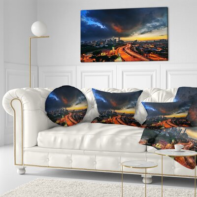 Busy Elevated Highway in Kula Lumpur Cityscape Throw Pillow Size: 16 x 16