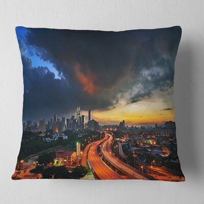 Busy Elevated Highway in Kula Lumpur Cityscape Pillow Size: 18 x 18, Product Type: Throw Pillow