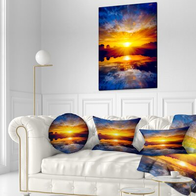 Bright Sunset over Lake Seashore Throw Pillow Size: 16 x 16