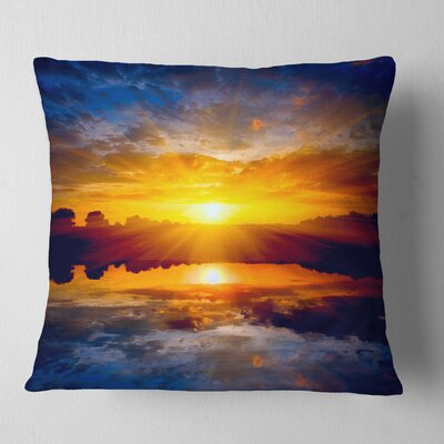 Bright Sunset over Lake Seashore Pillow Size: 26 x 26, Product Type: Euro Pillow