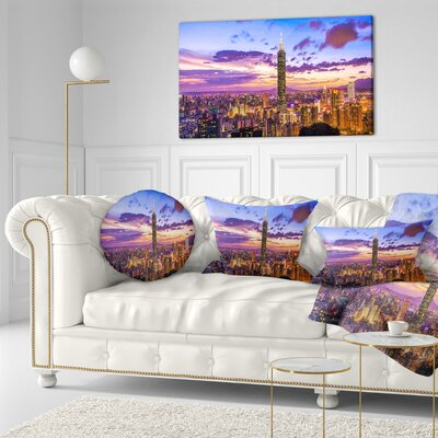 City of Taipei at Sunset Cityscape Throw Pillow Size: 20 x 20