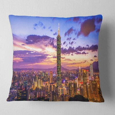 City of Taipei at Sunset Cityscape Pillow Size: 16 x 16, Product Type: Throw Pillow