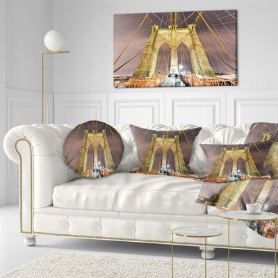 Brooklyn Bridge Tower and Cabling Cityscape Throw Pillow Size: 20 x 20