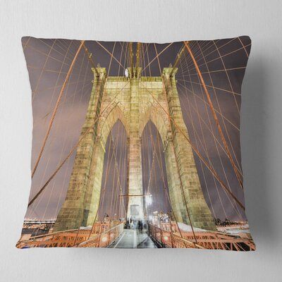 Brooklyn Bridge Tower and Cabling Cityscape Pillow Size: 26 x 26, Product Type: Euro Pillow