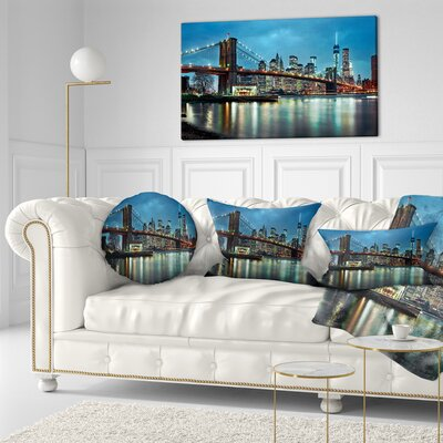 Brooklyn Bridge and Skyscrapers Cityscape Throw Pillow Size: 16 x 16