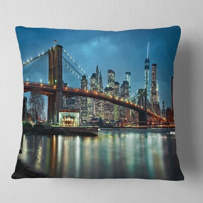 Brooklyn Bridge and Skyscrapers Cityscape Pillow Size: 16 x 16, Product Type: Throw Pillow