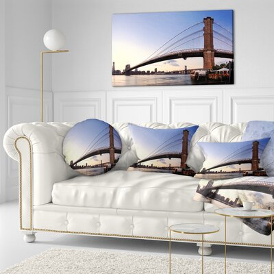 Brooklyn Bridge in New York City Cityscape Throw Pillow Size: 16 x 16