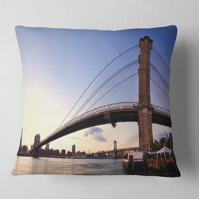 Brooklyn Bridge in New York City Cityscape Pillow Size: 26 x 26, Product Type: Euro Pillow