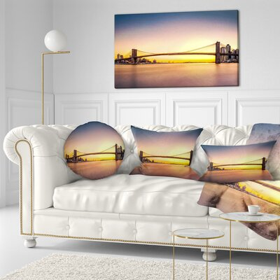 Brooklyn Bridge Panorama Sky Cityscape Pillow in , 20 Size: 20 x 20