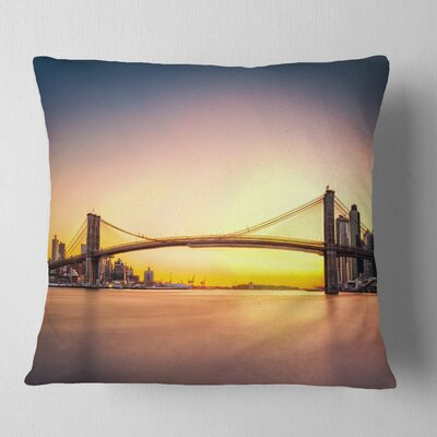 Brooklyn Bridge Panorama Sky Cityscape Pillow Size: 16 x 16, Product Type: Throw Pillow