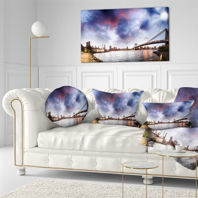 Brooklyn Bridge over East River Cityscape Pillow in , 20 Size: 16 x 16
