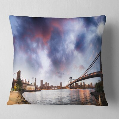 Brooklyn Bridge over East River Cityscape Pillow Size: 18 x 18, Product Type: Throw Pillow