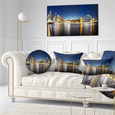 Sydney Nightfall Panorama Cityscape Throw Pillow Size: 20 x 20