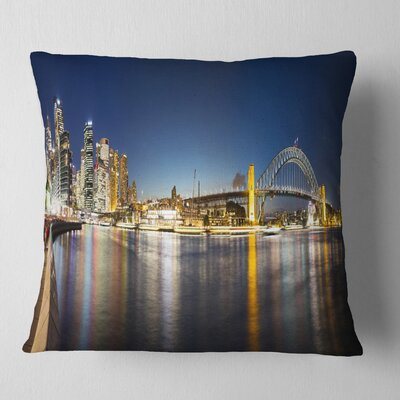 Sydney Nightfall Panorama Cityscape Pillow Size: 26 x 26, Product Type: Euro Pillow