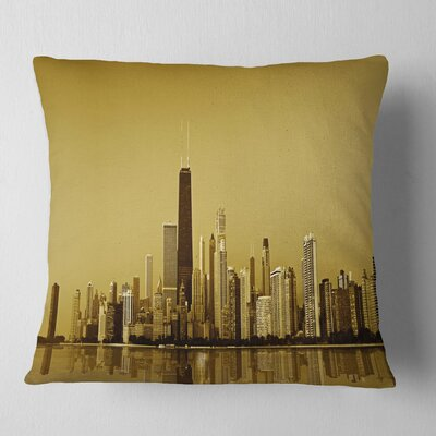 Chicago Coast with Skyscrapers Cityscape Pillow Size: 26 x 26, Product Type: Euro Pillow
