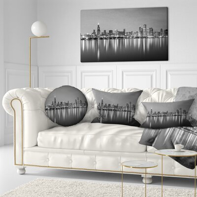 Chicago Skyline at Night Cityscape Throw Pillow Size: 20 x 20