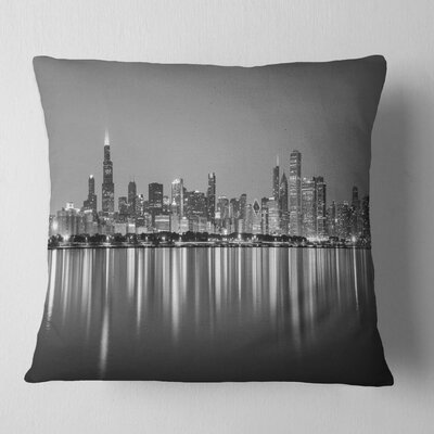 Chicago Skyline at Night Cityscape Pillow Size: 26 x 26, Product Type: Euro Pillow