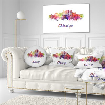Chicago Skyline in Watercolor Cityscape Throw Pillow Size: 16 x 16