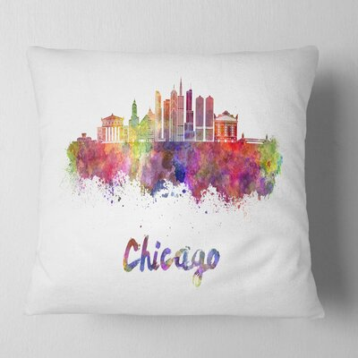 Chicago Skyline in Watercolor Cityscape Pillow Size: 26 x 26, Product Type: Euro Pillow