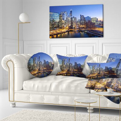 Chicago River with Bridges at Sunset Cityscape Throw Pillow Size: 20 x 20