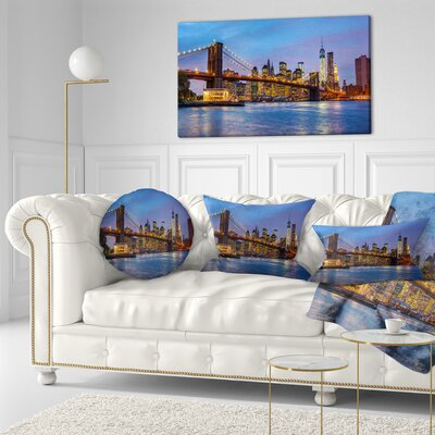 Brooklyn Bridge with Lights and Reflections Cityscape Throw Pillow Size: 20 x 20
