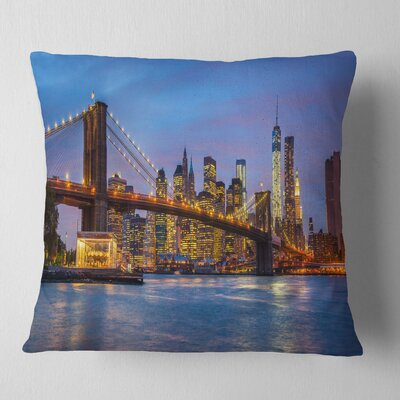 Brooklyn Bridge with Lights and Reflections Cityscape Pillow Size: 18 x 18, Product Type: Throw Pillow