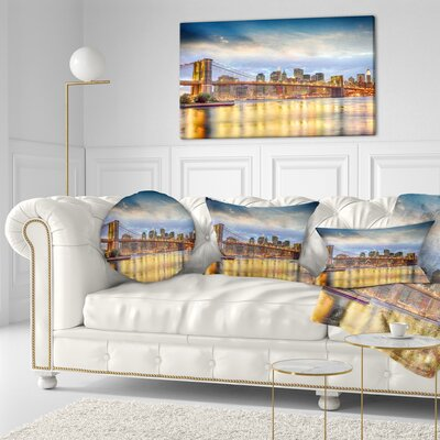 Brooklyn Bridge with Night Illumination Cityscape Throw Pillow Size: 16 x 16
