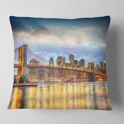 Brooklyn Bridge with Night Illumination Cityscape Pillow Size: 26 x 26, Product Type: Euro Pillow