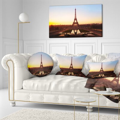 Silhouette of Paris Eiffel Tower Cityscape Throw Pillow Size: 16 x 16