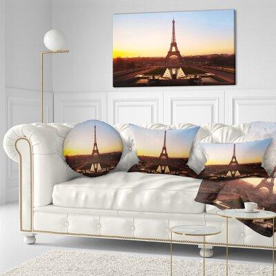 Silhouette of Paris Eiffel Tower Cityscape Throw Pillow Size: 16 x 16