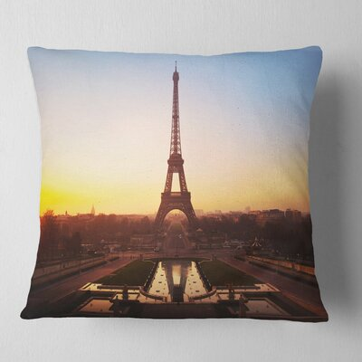 Silhouette of Paris Eiffel Tower Cityscape Pillow Size: 16 x 16, Product Type: Throw Pillow