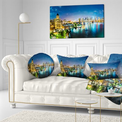 New York City Panoramic View Cityscape Throw Pillow Size: 16 x 16