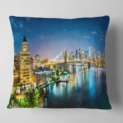 New York City Panoramic View Cityscape Pillow Size: 18 x 18, Product Type: Throw Pillow