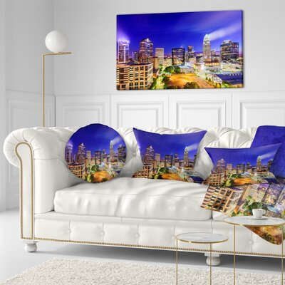 Charlotte North Carolina Cityscape Throw Pillow Size: 16 x 16